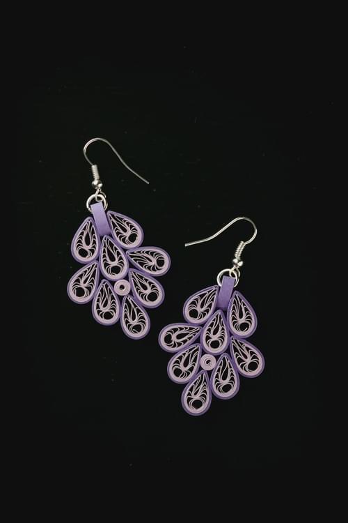 Vasantha - Spring Season/ Purple Earrings/ Quilling Earrings/ 1st Anniversary Earrings/ Earrings