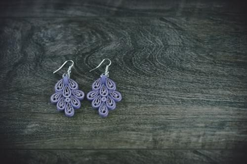 Vasantha (Spring) - Long Purple Paper Quilling Earrings - One Year  Anniversary Gift - Paper Jewelry