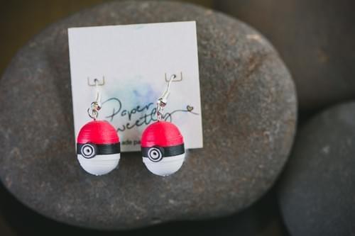 Pokeball earrings/ pokemon ball earrings/  Anime Earrings/ Quilling/ Earrings/ Anniversary gift