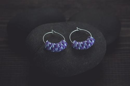 Tarala - Wave/ Purple paper jewelry/ Quilling earrings/ Paper jewelry/ Hoop earrings/Purple Earrings