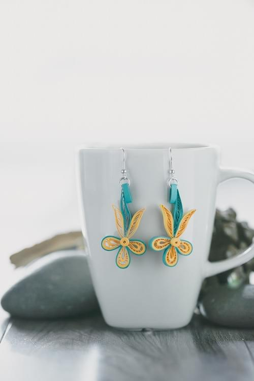 Hasa(Smile) - Turquoise Long Paper Quilling Earrings - Paper Quilled Jewelry - 1st Anniversary Gift