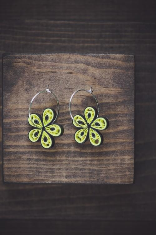 Chakshu - Eyes/ Yellow Earrings/ Hoop Earrings/  Quilling Earrings/ 1st Anniversary Gift/ Earrings