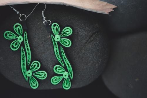 Vauna - Sea Jewel/ Green long earrings/Earrings/ Long earrings/ Quilling/ 1st anniversary gift
