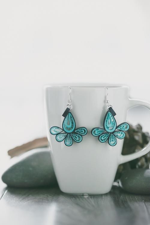 Kalapin(Peacock) - Turquoise Teardrop Quilling Earrings - Paper Jewelry - One Year Anniversary Gift