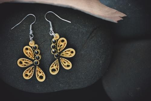 Teetal (Butterfly) - Paper Quilling Earrings - 1st Anniversary Gift For Her - Paper Quilled Jewelry