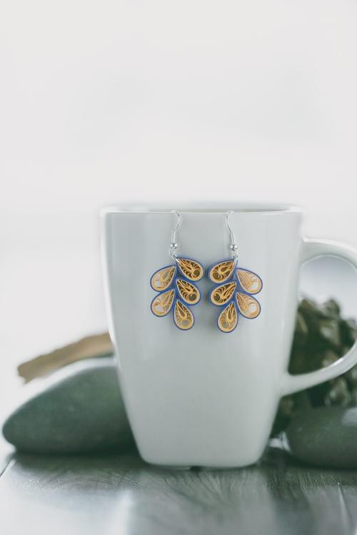 Aboli - Blue Teardrop Paper Quilling Earrings - 1st Anniversary Gift For her - Beach Boho Earrings