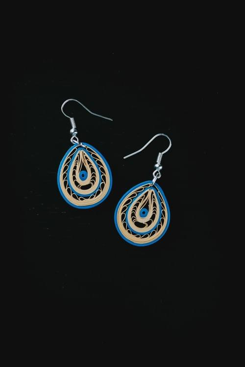 Sowmya - Peace/ Peacock blue quilling earrings/ Quilling jewelry/ Blue  jewelry/ Quilling / Earrings