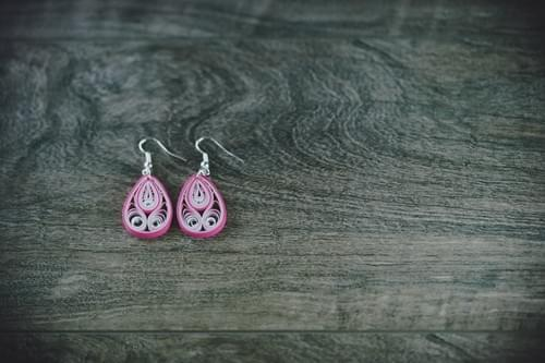 Mukula(Bud) - Pink Boho Teardrop Paper Quilling Earrings - 1st Anniversary Gift for her