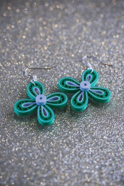 Shobha - Brilliant/ Green quilled earrings/ Green & silver earrings/ Silver earrings/ Earrings