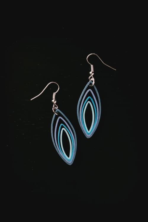 Sikara - Peak - Blue Teardrop Quilling Earrings - Quilled Paper Jewelry - Best friend Gifts  1
