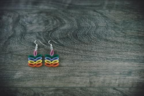 Karmuka - Rainbow/ Pride Earrings/ Rainbow earrings/ Paper earrings/ Quilling jewelr/ Anniversary