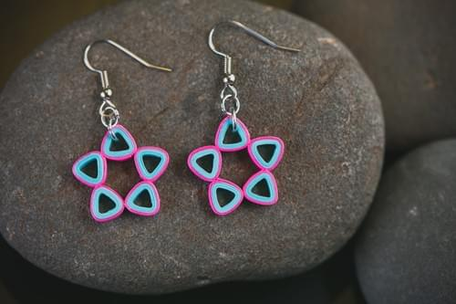 Sitara - Star Paper Quilling Earrings - One Year Anniversary Gift - Paper Quilling Jewelry