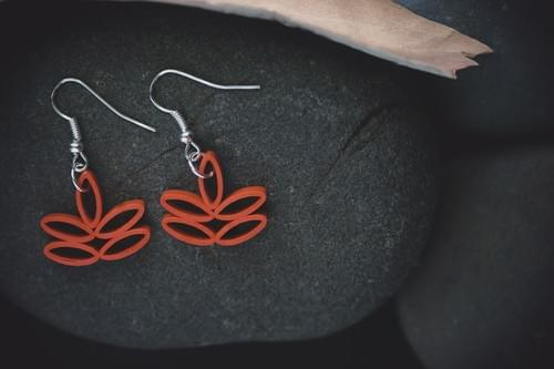 Toyaja - Lotus Earrings/ Orange Earrings/ Quilling Earrings/ 1st anniversary gift/ Earrings/ Jewelry