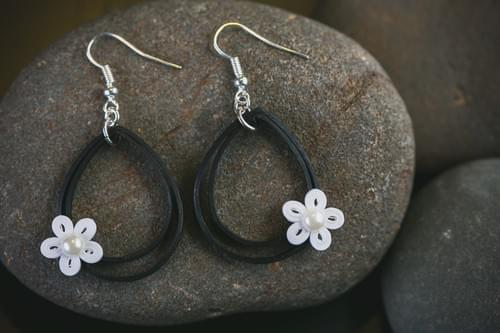 Viras(Excitement) - Black and White Teardrop Paper Quilling Earrings - 1st Anniversary Gift For Her