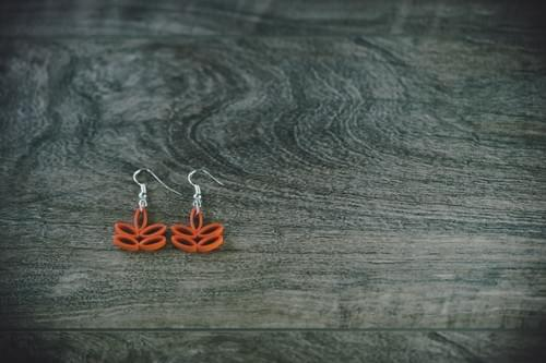 Toyaja(Lotus) - Small Orange Lotus Paper Quilling Earrings - One Anniversary Gift - Paper Jewelry