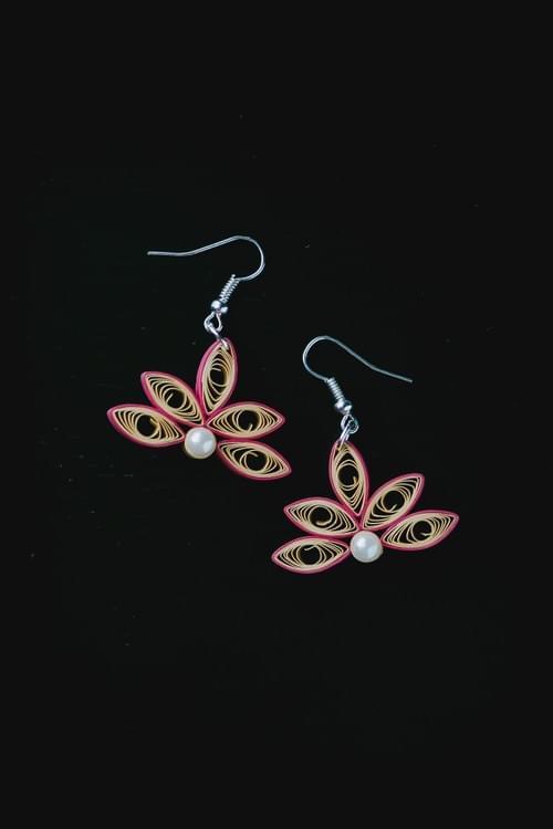 Jalaja - LotusEarrings/ Paper earrings/ Quilling/ Gold Lotus earrings/ Quilling earrings/ Jewelry