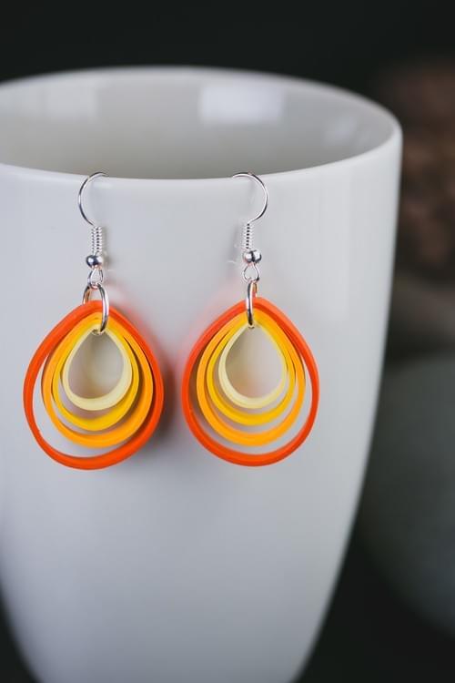 Grishma(Summer) - Orange Teardrop Quilling Earrings - One Year Anniversary Gift - Paper Jewelry