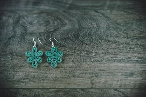 Vrista - Green Filigree Teardrop Paper Quilling Earrings - One Year Anniversary Gift  -Paper Jewelry