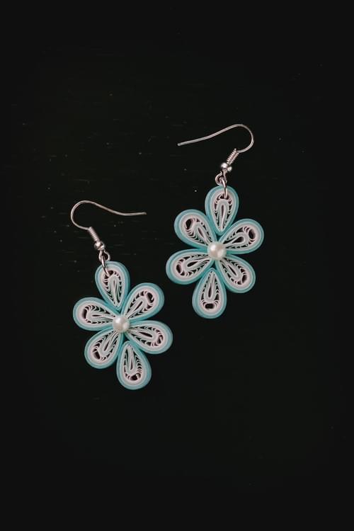 Sudha - Pristine Water/ Blue Earrings/ Quilling Earrings/ Paper Earrings/ 1st anniversary gift/