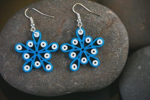 Nila - Blue Earrings/  Quilling Earrings/ 1st Anniversary Gift/ paper Earrings/ Earrings/ Jewelry