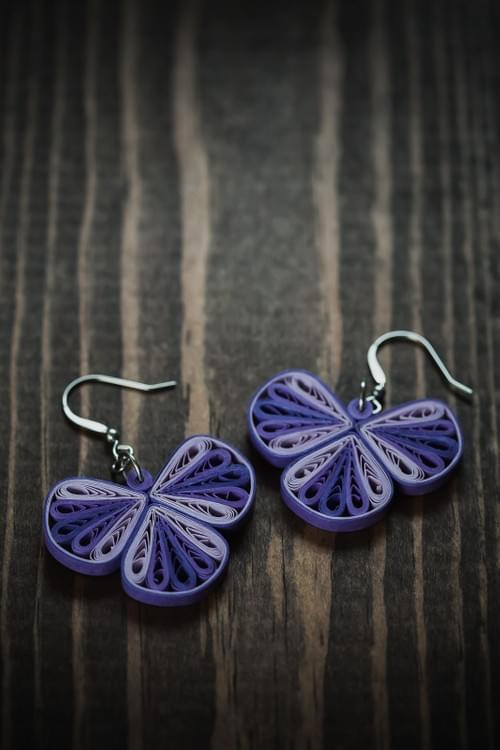 Traya(Threefold) - Purple Geometric Paper Quilling Earrings - 1st Anniversary Gift For Her