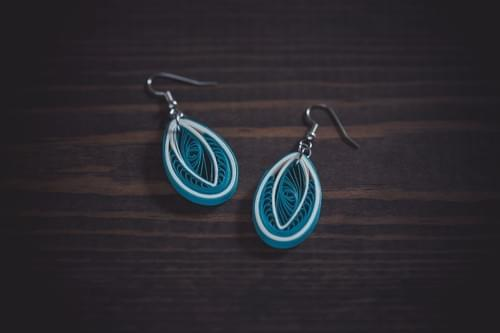 Amodha - Serenity/ Teal Earrings/ Quilling Earrings/ 1st anniversary gift/ Paper Earrings/ Earrings