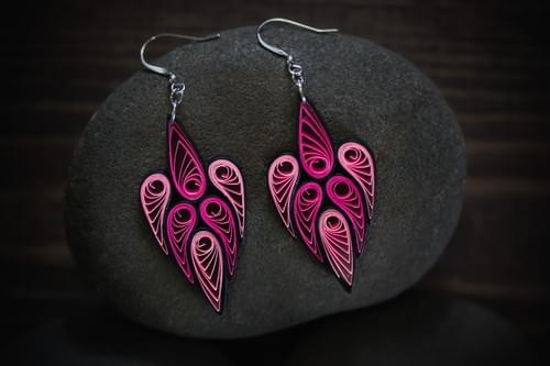 Rani(Queen) - Long Pink Handmade Paper Quilling Earrings - Anniversary Gift - Mothers Day Gift