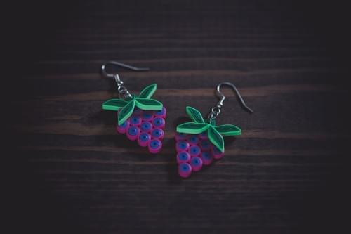 Parisar - Grapes Earrings/ Earrings/ Fruit Jewelry/ 1st Anniversary gift/ Paper Anniversary/Quilling