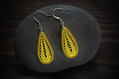 Zara -Yellow Tear Drop Paper Quilling Earrings - 1st Anniversary Gift for Her - Paper Jewelry