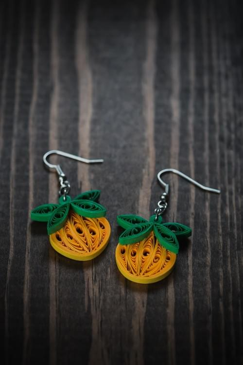 Kusumandha  - Witch/ Pumpkin Earrings/ halloween earrings/ Quilling Earrings/ 1st anniversary gift
