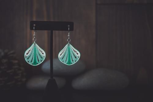 Vyaja - Fan Earrings/ Green Earrings/ Quilling Earrings/ 1st anniversary gift/ Paper Earrings