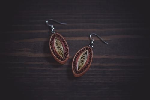 Vikrama(Stability) - Brown Long Paper Quilling Earrings -1st Anniversary Gift For Her -Paper Jewelry