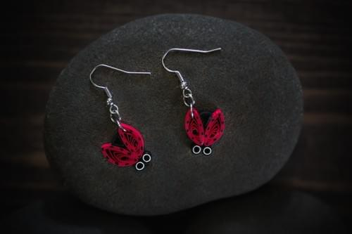 Agnika -Lady bug insect earrings - Paper quilling jewelry - 1 year anniversary gift for girlfriend