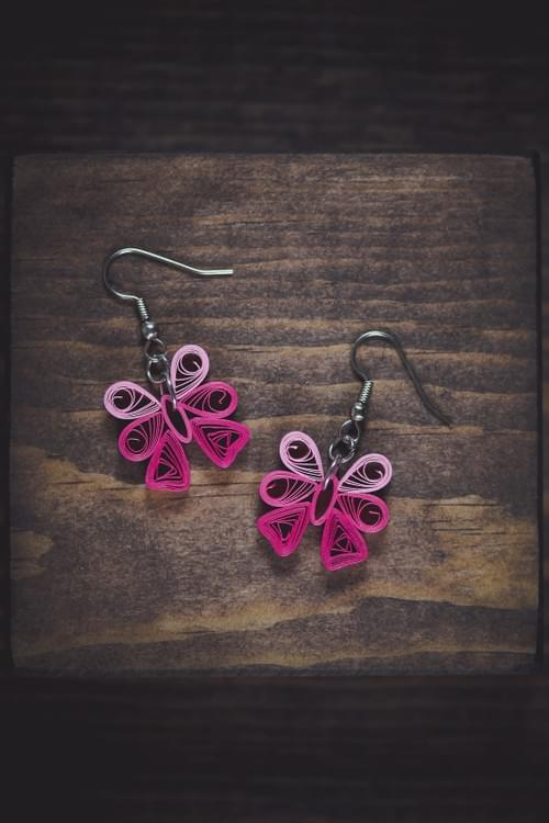 Patala - Pink/ Bow Earrings/ Quilling Earrings/ 1st Anniversary gift/ Paper Earrings/ Earrings