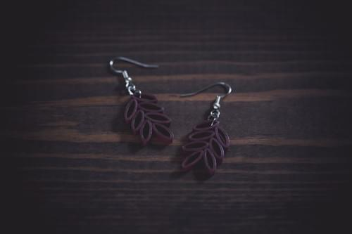 Patra - Leaf Earrings/ Marron Earrings/  Quilling Earrings/ 1st Anniversary Gift/ paper Earrings