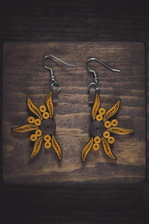 Surya - Golden Sun Paper Quilling Earrings - Paper Quilled Jewelry -1st Anniversary Gift for her