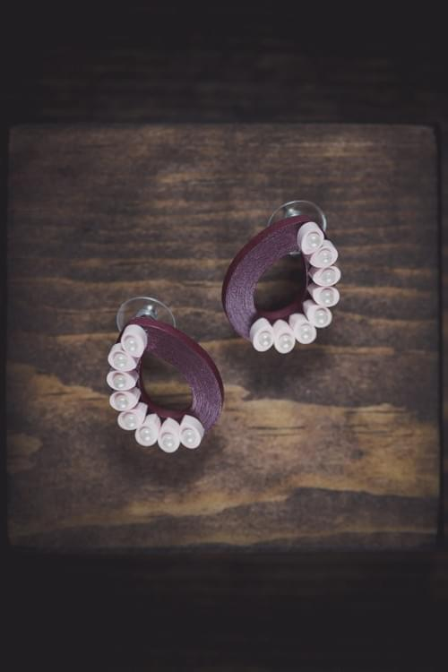 Vadaba - Maroon Pink Paper Quilling Earrings - 1st Anniversary Gift For Her - Paper Quilled Jewelry