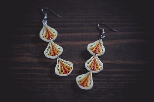 Trika(Threefold) - Orange Long Paper Quilling Earrings - 1st Anniversary Gift For Her