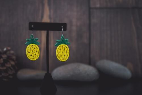 Pineapple Earrings/ Fruit Earrings/  Quilling Earrings/ 1st Anniversary Gift/ paper Earrings