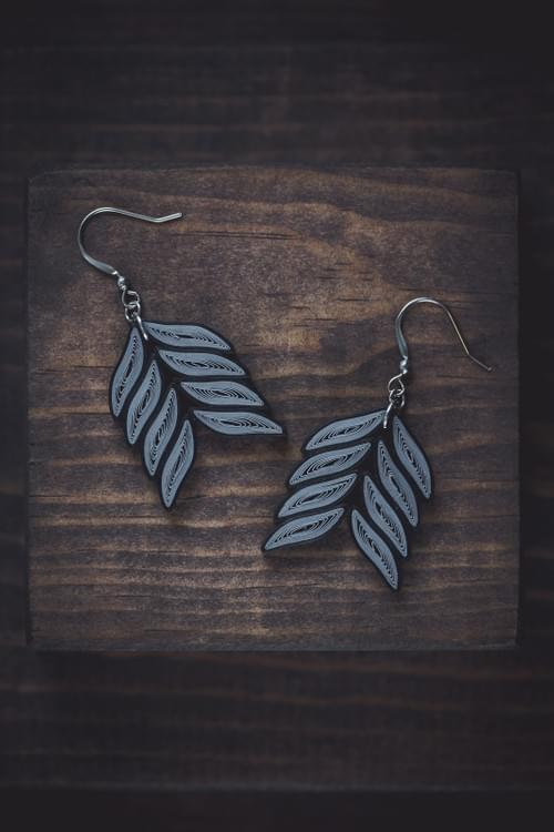 Kapote - Grey Earrings/ Black Earrings/ Quilling Earrings/ 1st Anniversary Earrings/ Paper Earrings
