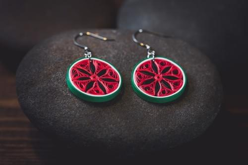 Kaligga - Watermelon  Earrings/ Fruit Earrings/  Quilling Earrings/ 1st Anniversary Gift/ Earrings