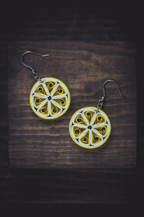 Lemon Fruit Paper Quilling Earrings - 1st anniversary gift for her - Paper Quilled Jewelry