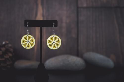 Lemon// Lemon Jewelry/ Fruit Jewelry/ Paper Jewelry/ Quilling/ Citrus Jewelry/ Yellow Earrings