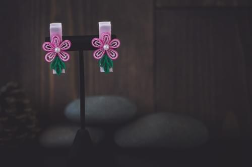 Pink Flower Hair-clips