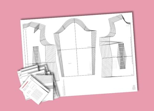 Graded Dress Block (size 6 - 24) & 3 sets of Half-Scale Blocks Hard Copy
