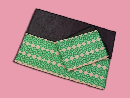 Morigami Sleeve Kit - Green Lurex/Salmon Pink Aso Oke fabric for sleeves
