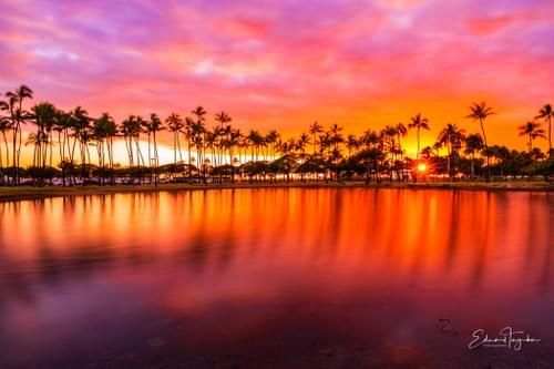 Oahu Pink Sunset Sky