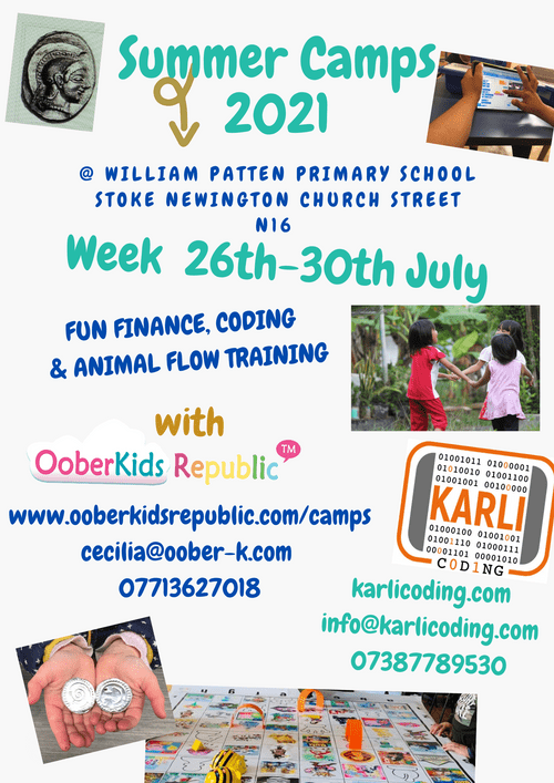 Summer Camps 2021- Daily Pass (29th July) Fun Finance, Coding & Workout @ William Patten