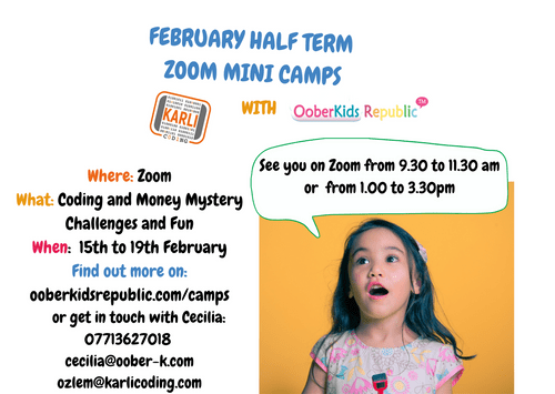 February Half Term: Money Mysteries & Coding - Pass AM  (9 to 11.30am) Friday 19th Feb