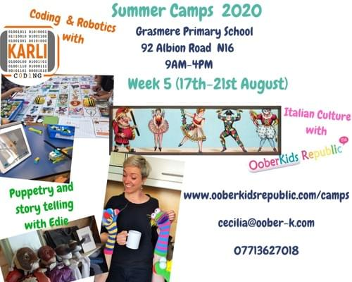 Summer Camps 2020 Week 5 (17th-21st August) - Puppetry, Commedia dell' Arte, Coding  - Weekly Pass